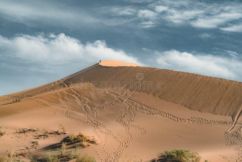 Песчанные дюны под голубым небом Пустыня Сахары, ранее, дома в деревне возвратила должное к движению песков стоковая фотография rf