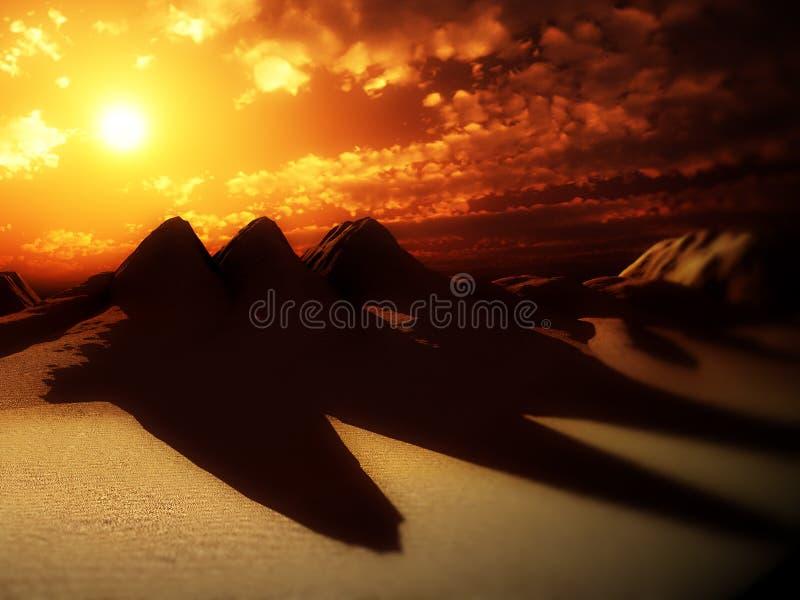 Песчанные дюны с Sun 4 стоковое фото