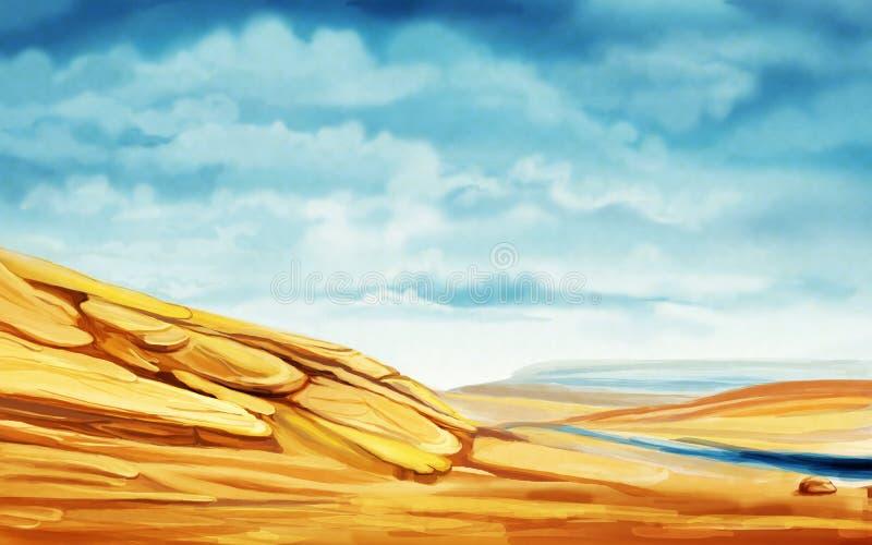 Песчанные дюны и заводь на пасмурный день иллюстрация вектора