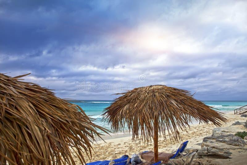 Песчаные пляжи карибского моря и навесов на острове Largo Cayo, Кубе стоковое фото rf