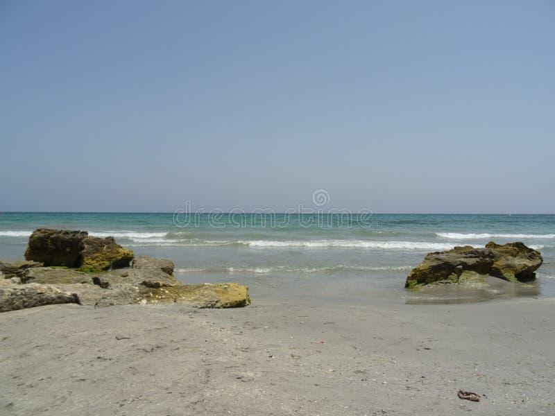Песчаный пляж в Санта Pola, Аликанте Испания стоковое изображение