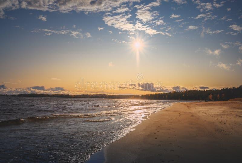 Песчаный пляж Панорама для nordic опыта путешествия материалы стоковая фотография rf