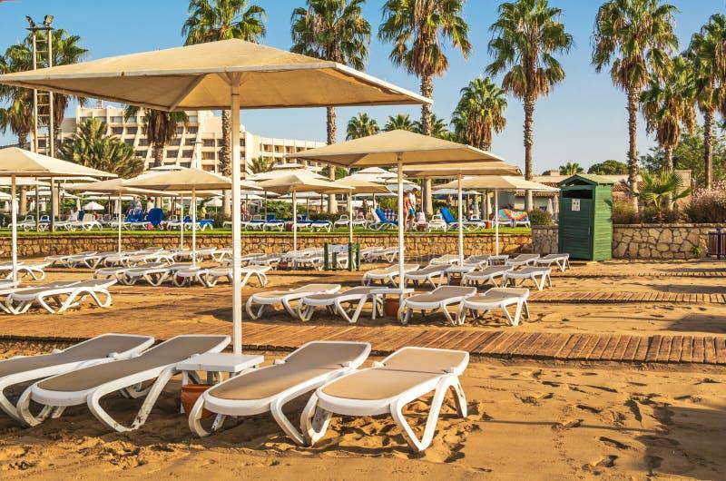 Песчаный пляж с шезлонгами и зонтиками стоковые изображения