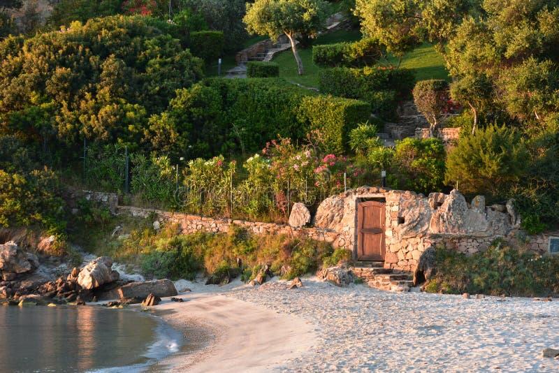 Песчаный пляж в солнце утра в Сардинии стоковое фото rf