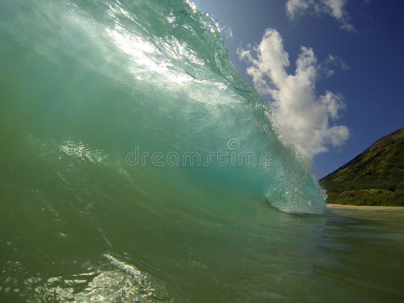 Песчаный пляж развевает Гаваи стоковые изображения rf