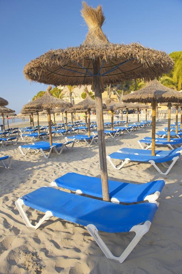 Песчаный пляж с зонтиками и Sunbeds соломы стоковая фотография rf