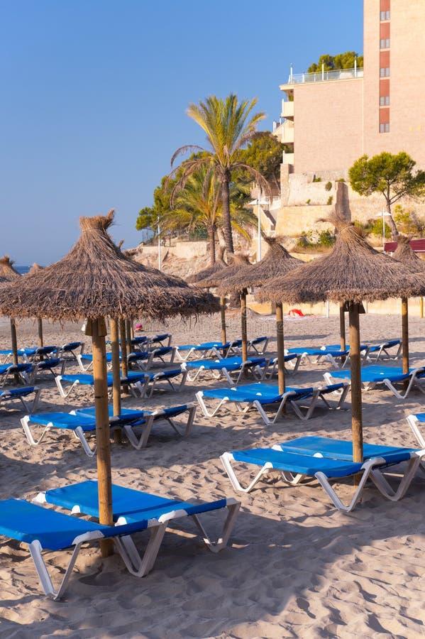 Песчаный пляж с зонтиками и Sunbeds соломы стоковое фото