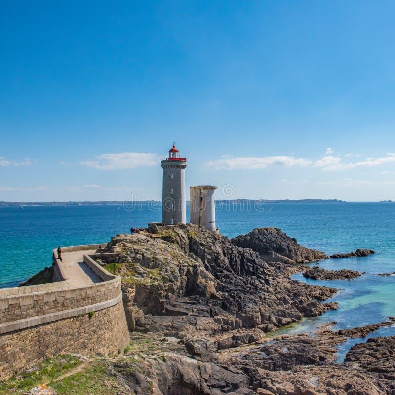 Петит маяк Minou Plougonvelin, Бретань, Франция стоковые изображения rf