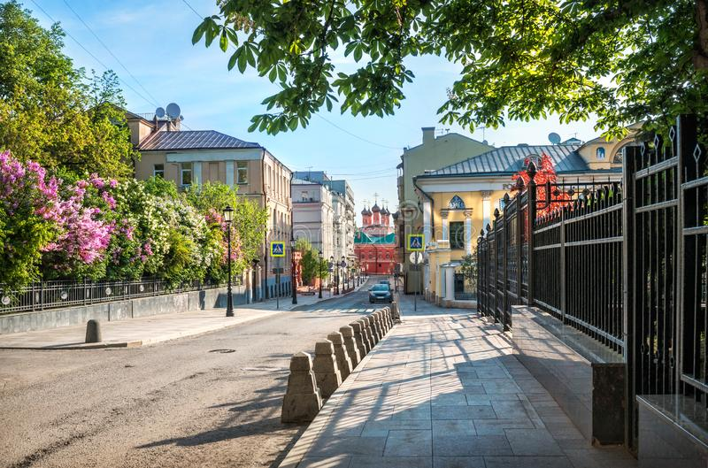 Petrovsky Lane in Moscow with blooming lilac. Bushes and view of the temple of the Petrovsky Monastery royalty free stock photo