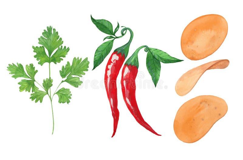 Петрушка, перец и картофельные стружки бесплатная иллюстрация
