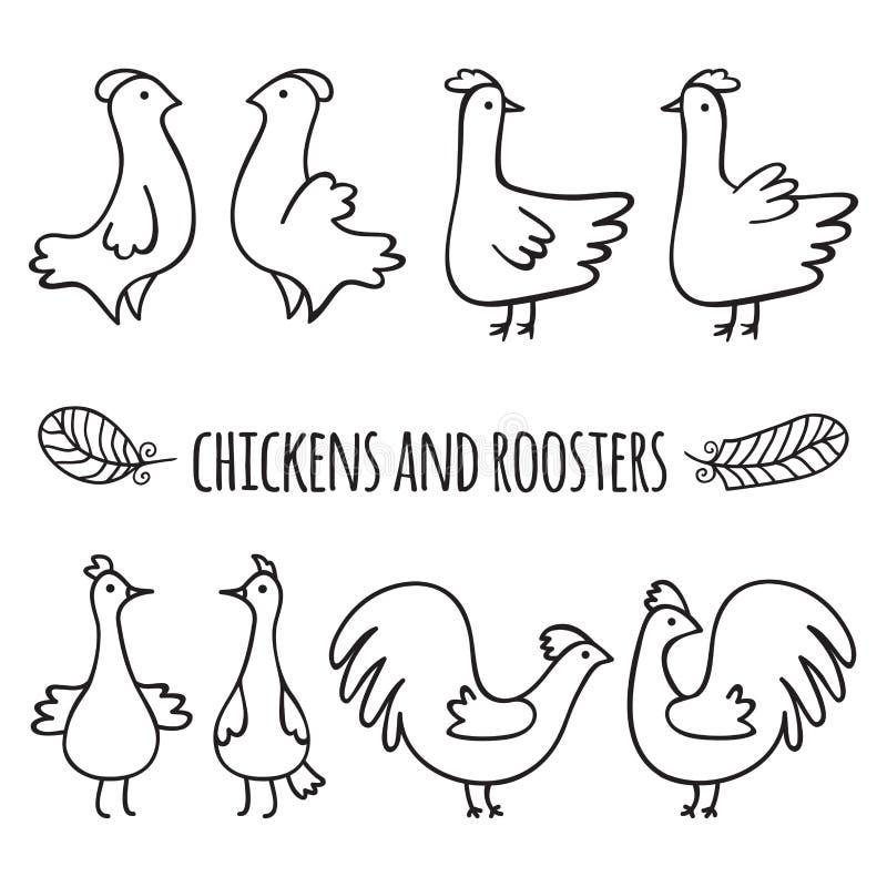 петухи цыплят иллюстрация штока