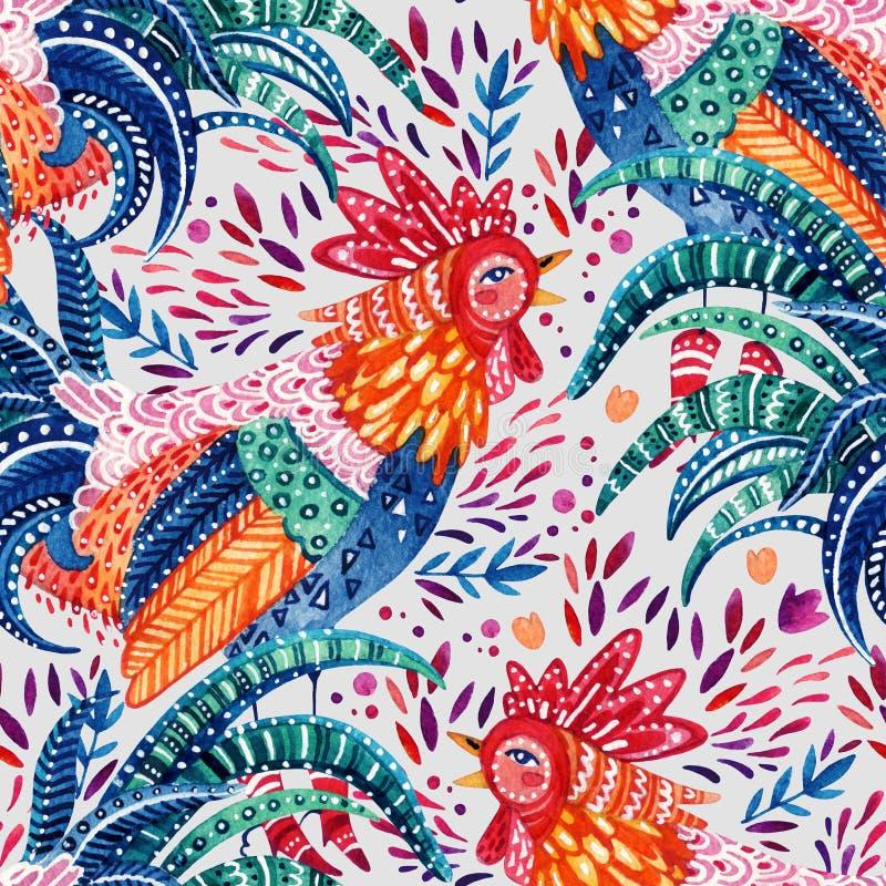 Петух акварели богато украшенный и милые богато украшенные флористические элементы на белой предпосылке иллюстрация вектора