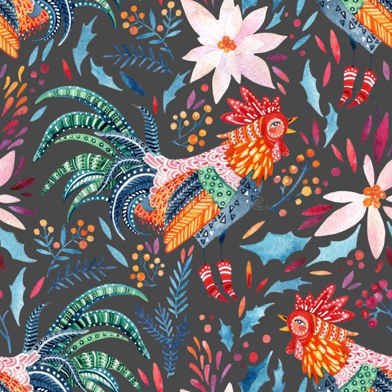 Петух акварели богато украшенный и милые флористические элементы на предпосылке бесплатная иллюстрация