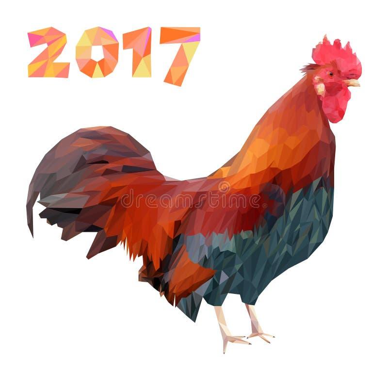 Петух и 2017 номеров в полигоне вводят низкое поли в моду Красный пламенистый кран символ Нового Года иллюстрация вектора