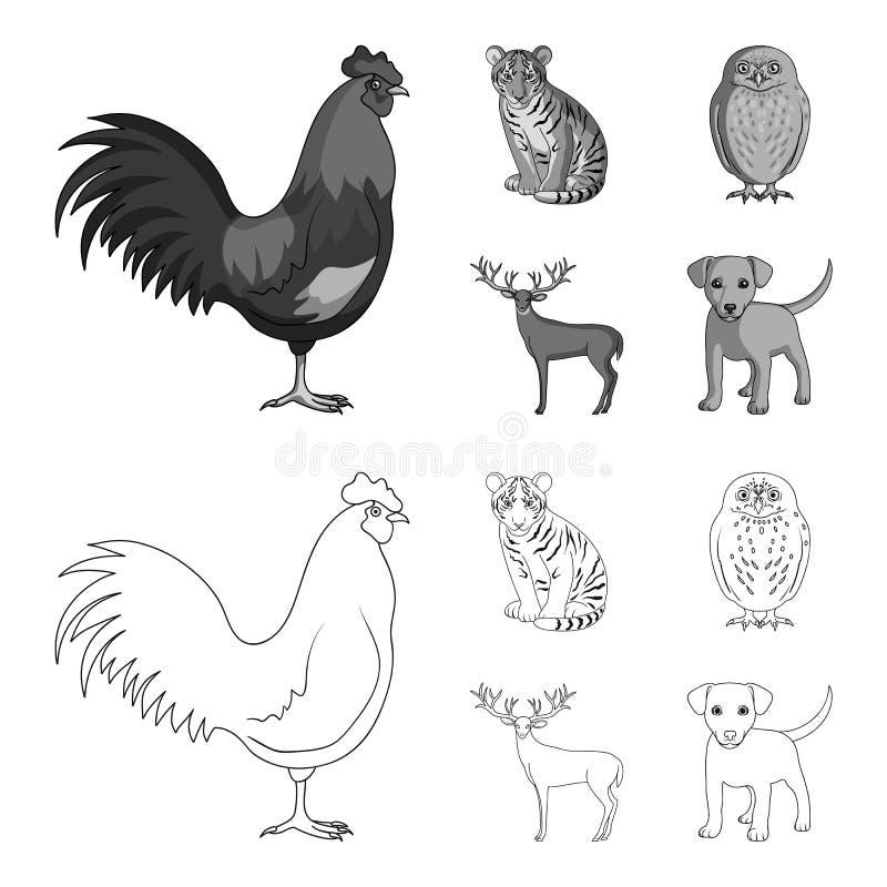 Петух, тигр, олени, сыч и другие животные Животные установили значки собрания в плане, monochrome запасе символа вектора стиля иллюстрация штока