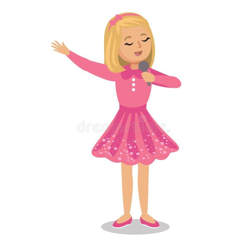 петь девушки Маленькая девочка поя с микрофоном в ее руке бесплатная иллюстрация