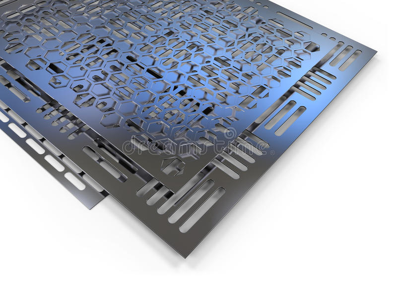 Пефорированные металлические листы иллюстрация вектора