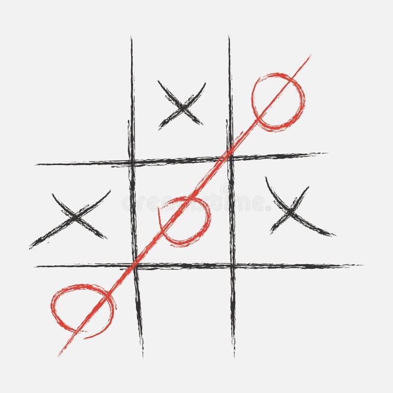 пец ноги tac иллюстрации 3d tic xo игры Нарисованный в меле вектор бесплатная иллюстрация