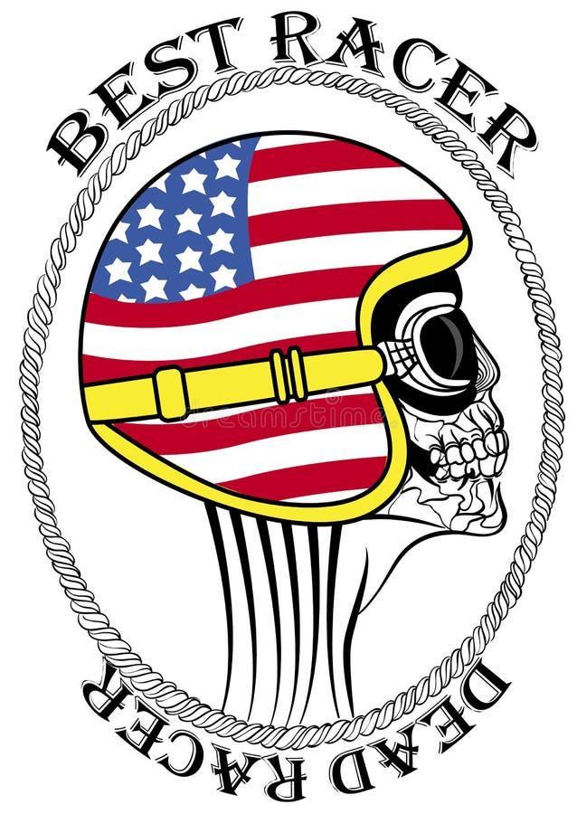 Печатание футболки чертежа руки гонки мотоцилк мертвого мотоцикла черепа винтажное иллюстрация вектора