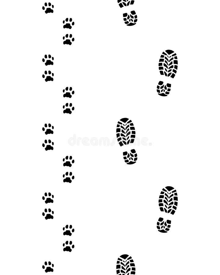 Печати ботинок и лапок собаки иллюстрация вектора