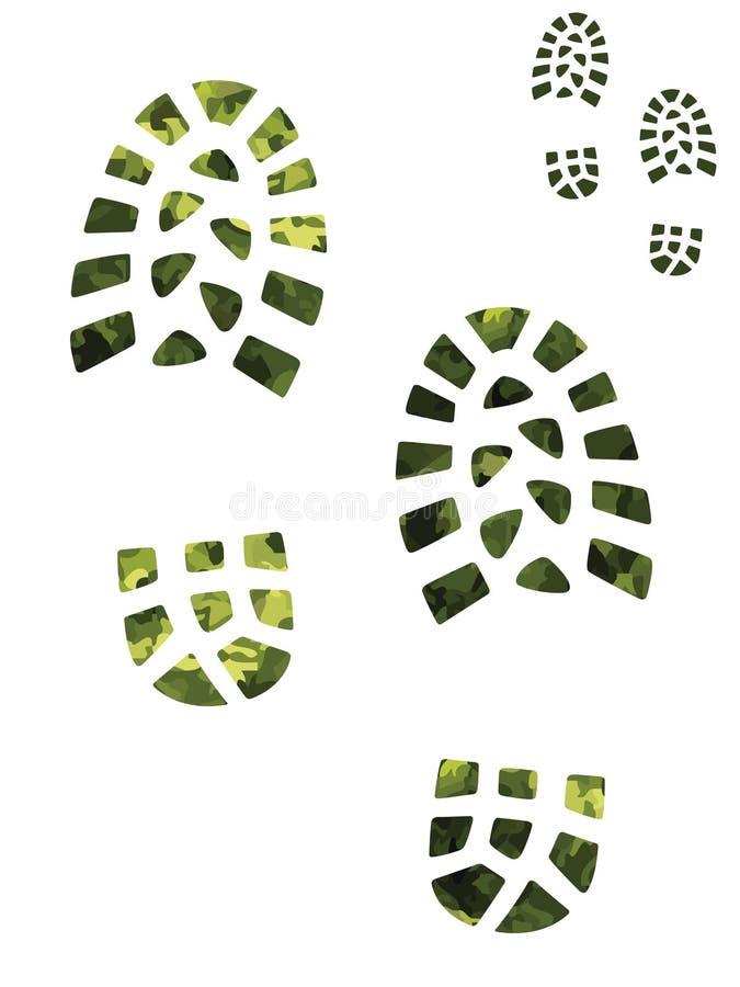 печати зеленого цвета camoflage ботинка иллюстрация вектора