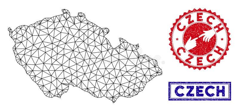 Печати карты и Grunge полигональной сети чехословакские иллюстрация штока