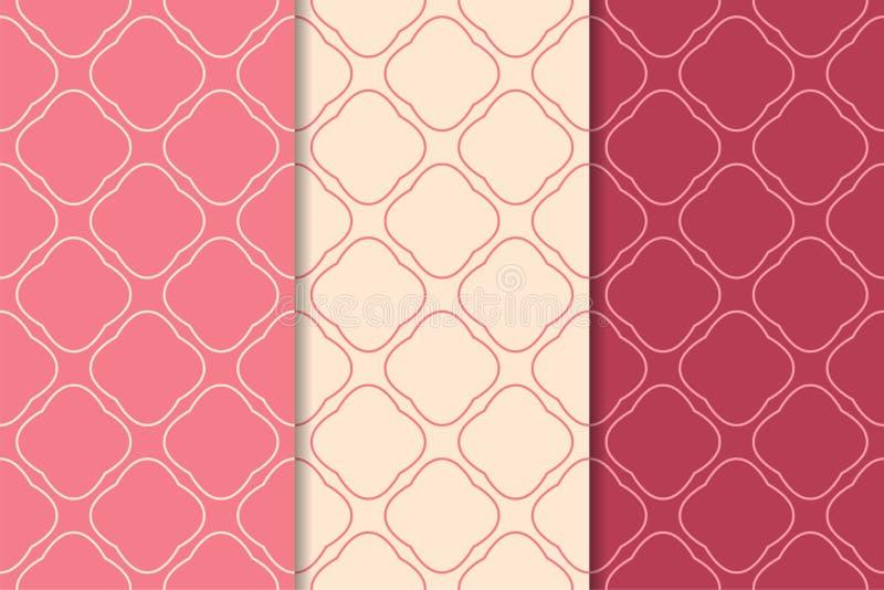 Печати красного цвета вишни геометрические делает по образцу безшовный комплект иллюстрация вектора