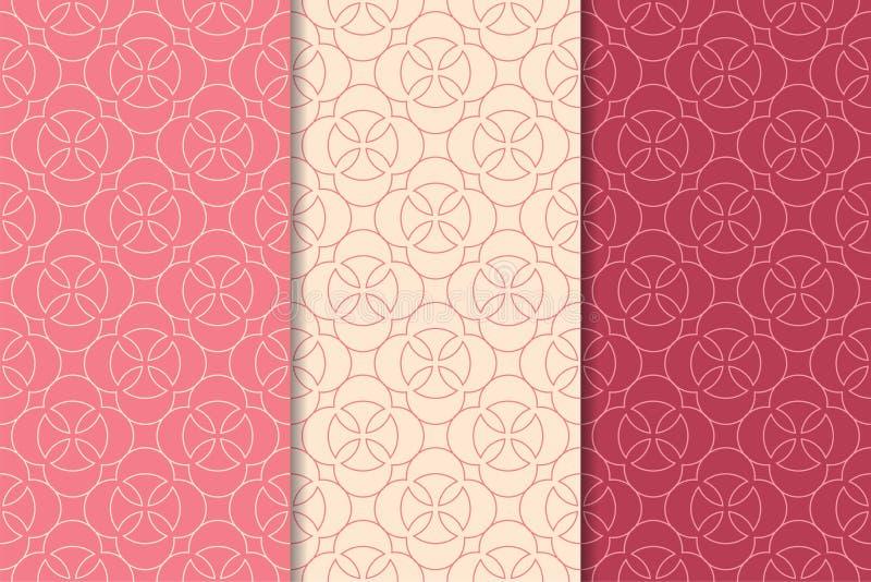 Печати красного цвета вишни геометрические делает по образцу безшовный комплект бесплатная иллюстрация