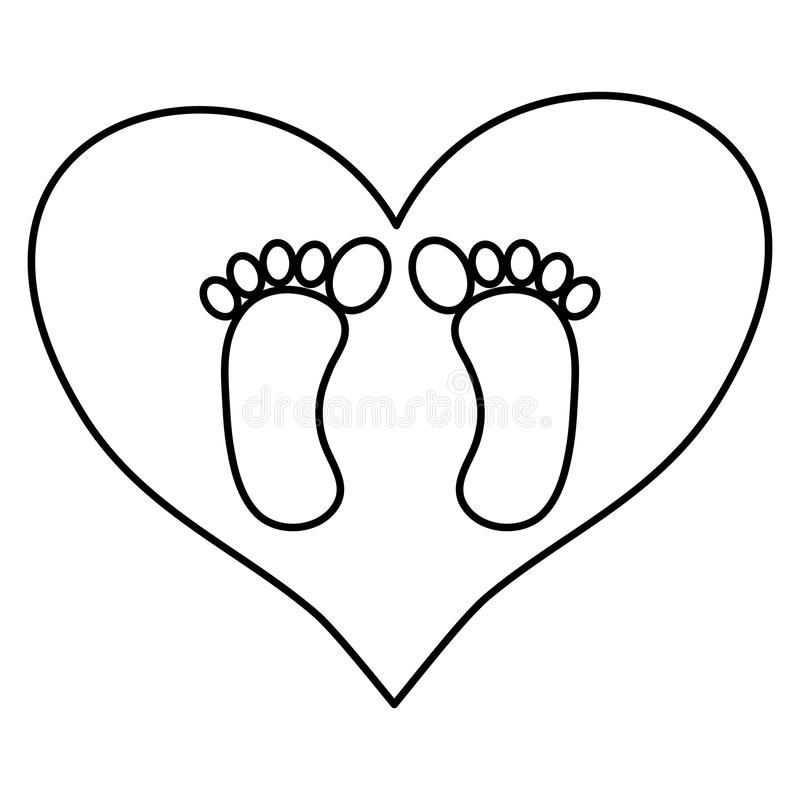 Печати ноги младенца в любов сердца иллюстрация штока