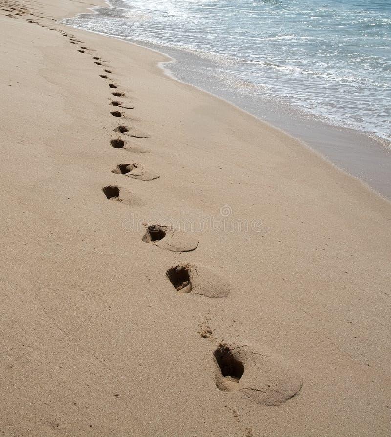 Печати ноги на песочном пляже рая стоковые фотографии rf
