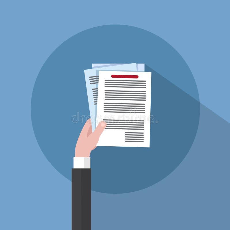 Печатные документы владением руки бизнесмена, подписывают вверх, концепция договора подряда иллюстрация штока