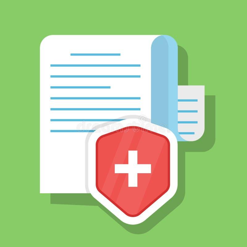 Печатный документ безопасно защищен Концепция медицинской страховки Безопасность личных данных Иллюстрация вектора в иллюстрация вектора