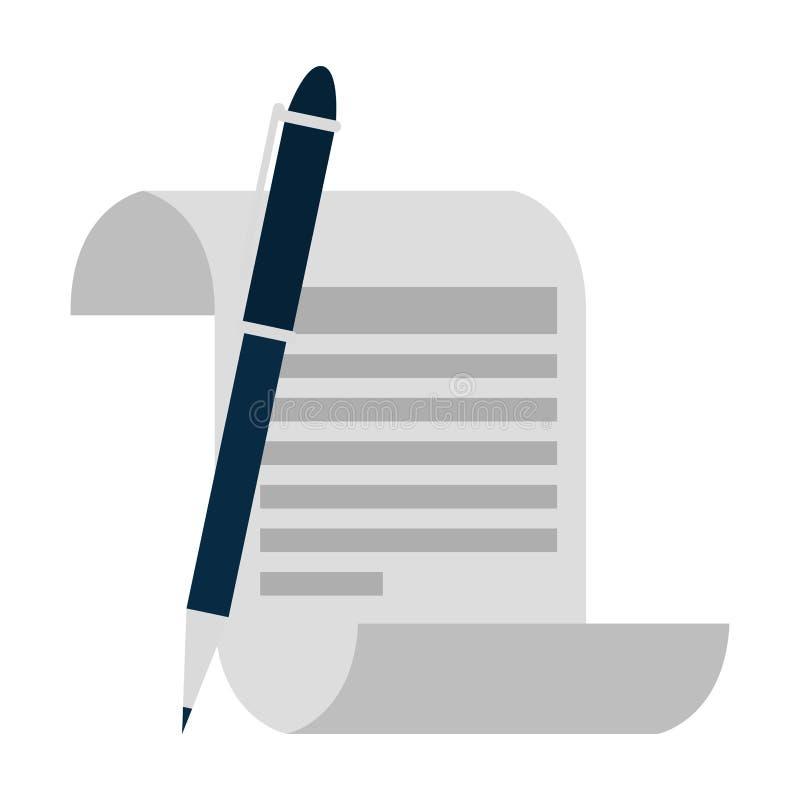 Печатный документ с ручкой бесплатная иллюстрация