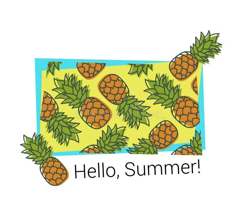 Печать ананаса E Экзотический дизайн r Свежие фрукты руки вычерченные Иллюстрация Doodle Мода ткани бесплатная иллюстрация