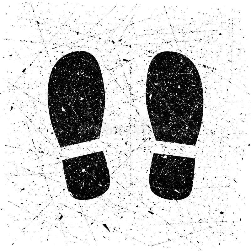 Печать ботинка Grunge, предпосылка Иллюстрация вектора человеческих шагов, следов ноги иллюстрация штока