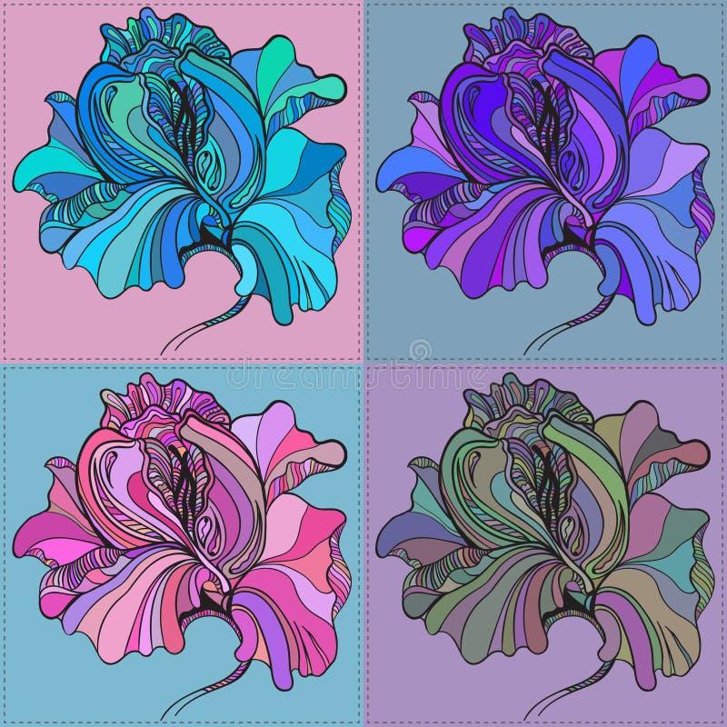 Печать вектора 4 графических цветков с иллюстрация штока