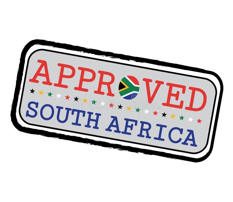 Печать вектора логотипа Approved с флагом Южной Африки в форме o и текста Южной Африки иллюстрация вектора