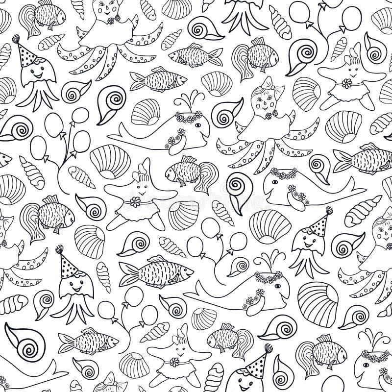 Печать вектора милых черно-белых животных морская иллюстрация штока