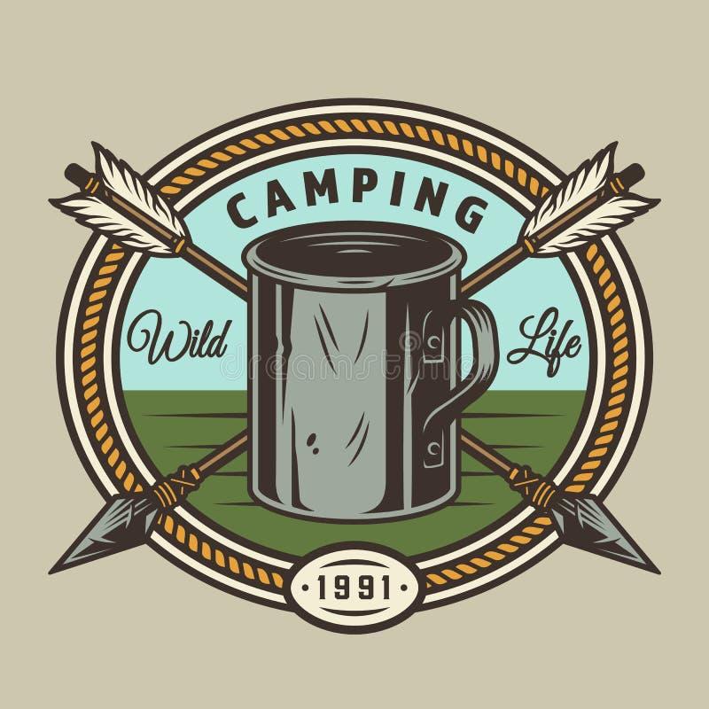 Печать винтажного лета располагаясь лагерем круглая бесплатная иллюстрация