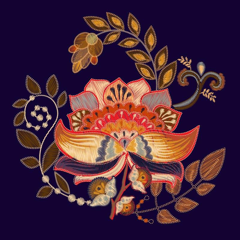 Печать вышивки вектора с большим цветком Флористический фольклорный шаблон на черной предпосылке для дизайна моды Вышивка бесплатная иллюстрация