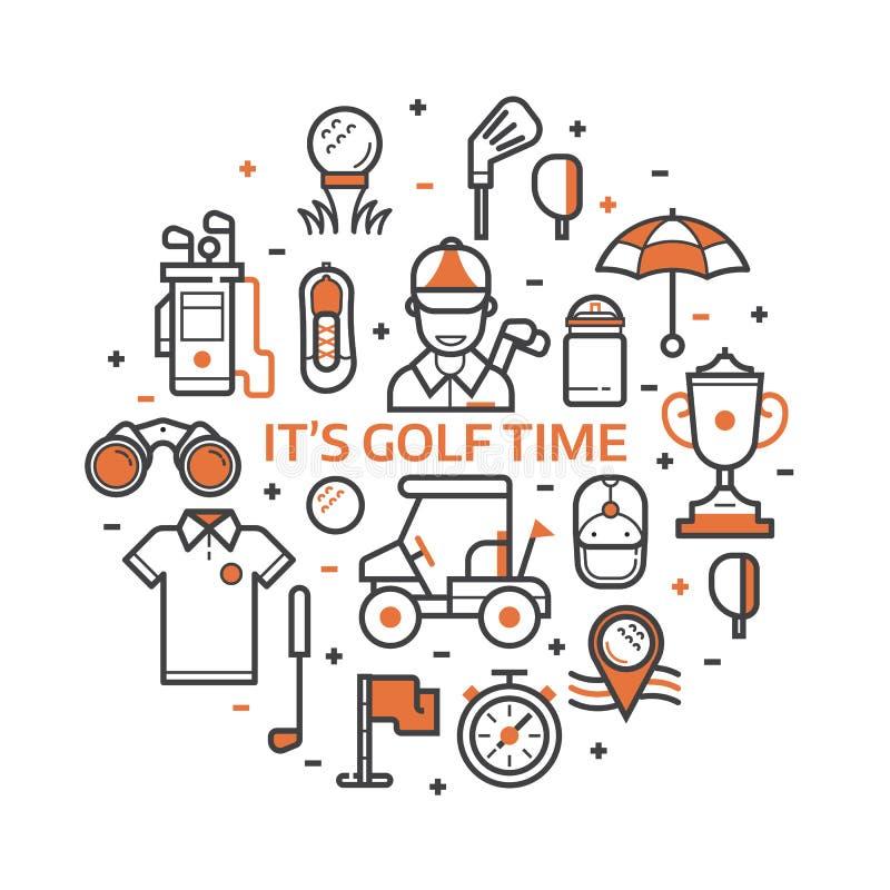 Печать гольфа игры с значками гольфа иллюстрация штока