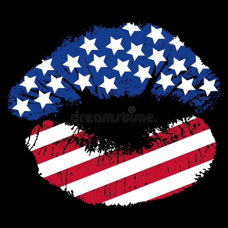 печать губы патриотическая иллюстрация вектора