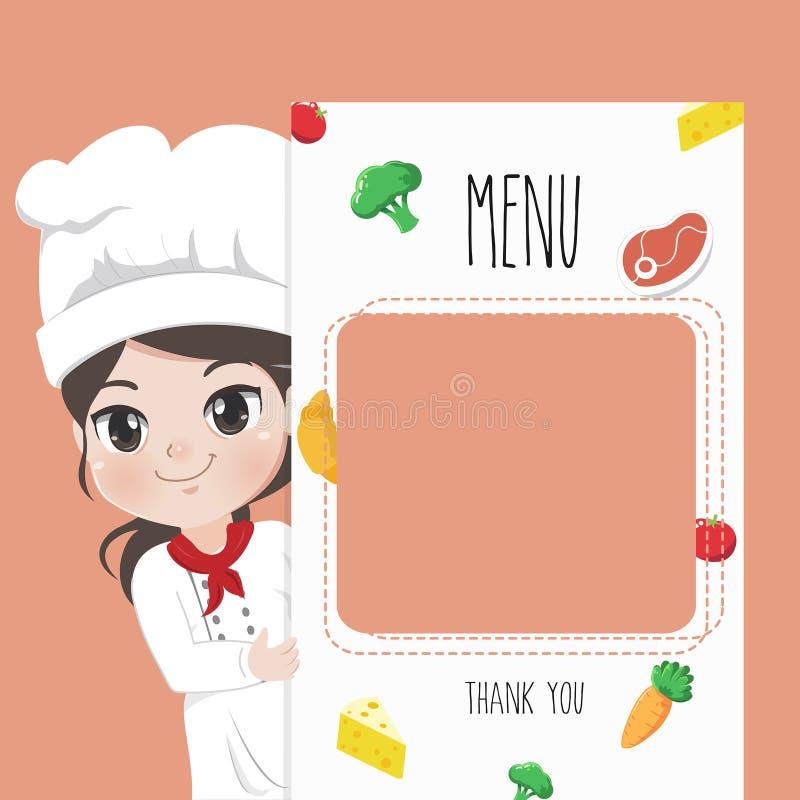 Печать девушки шеф-повара меню с элементом ингредиентов иллюстрация вектора