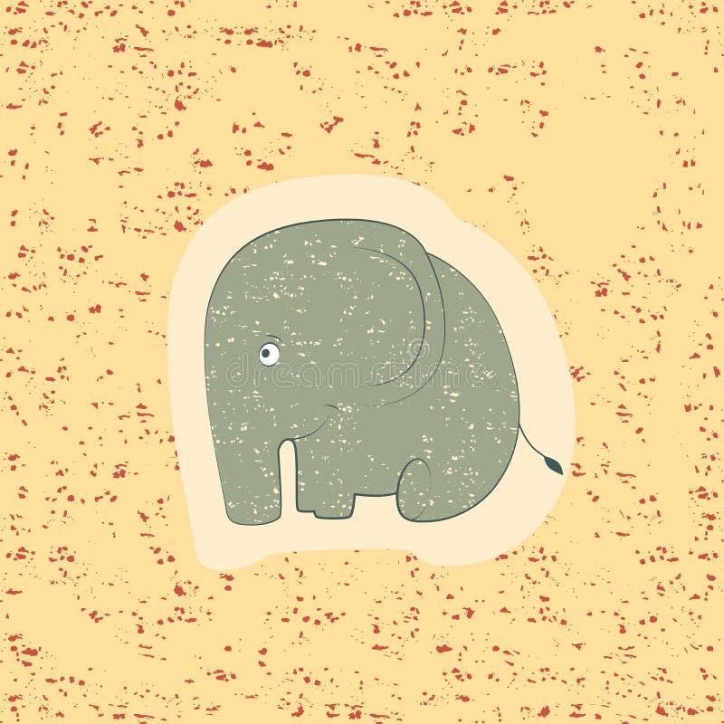 Печать детей слон смешной иллюстрация вектора
