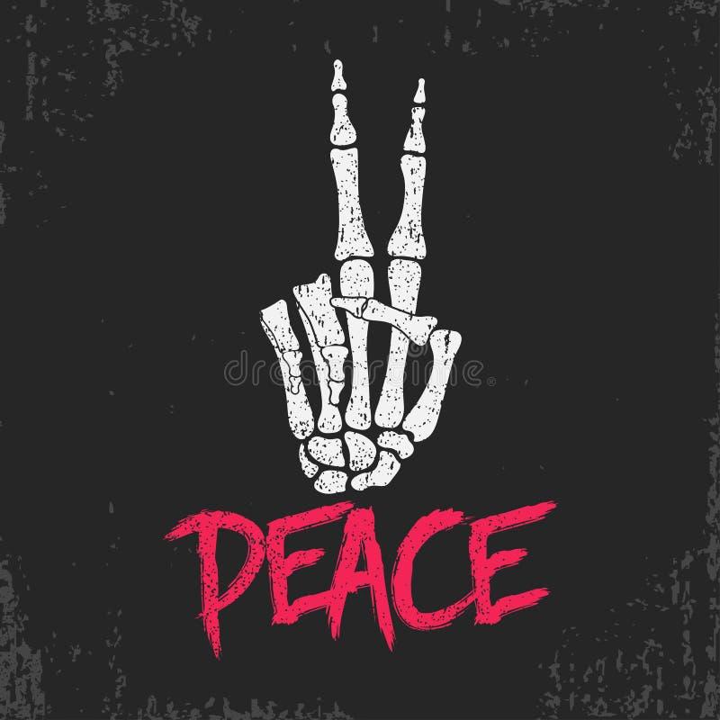 Печать знака жеста мира с скелетом bones рука Винтажный дизайн для футболки, одежд, одеяния оригинала grunge вектор иллюстрация вектора