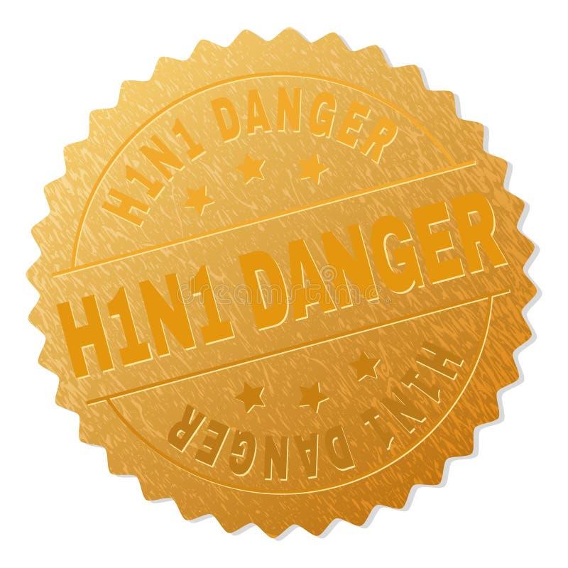 Печать значка ОПАСНОСТИ золота H1N1 иллюстрация вектора