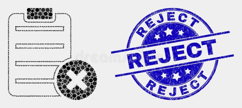 Печать значка страницы отчете об удаления Pixelated вектора и брака дистресса иллюстрация вектора