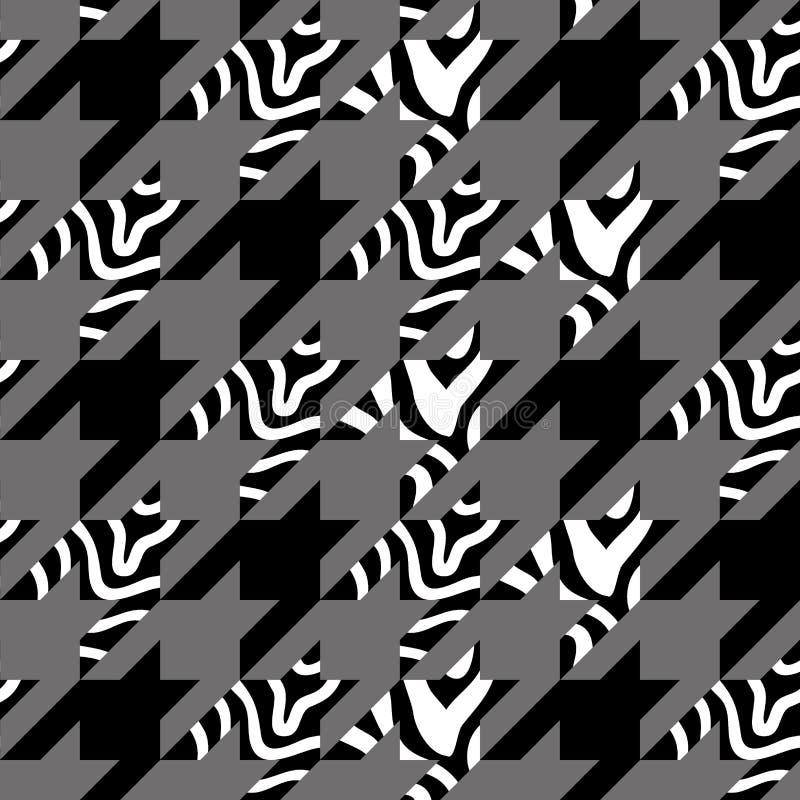 Печать зуба гончих с нашивками зебры иллюстрация вектора