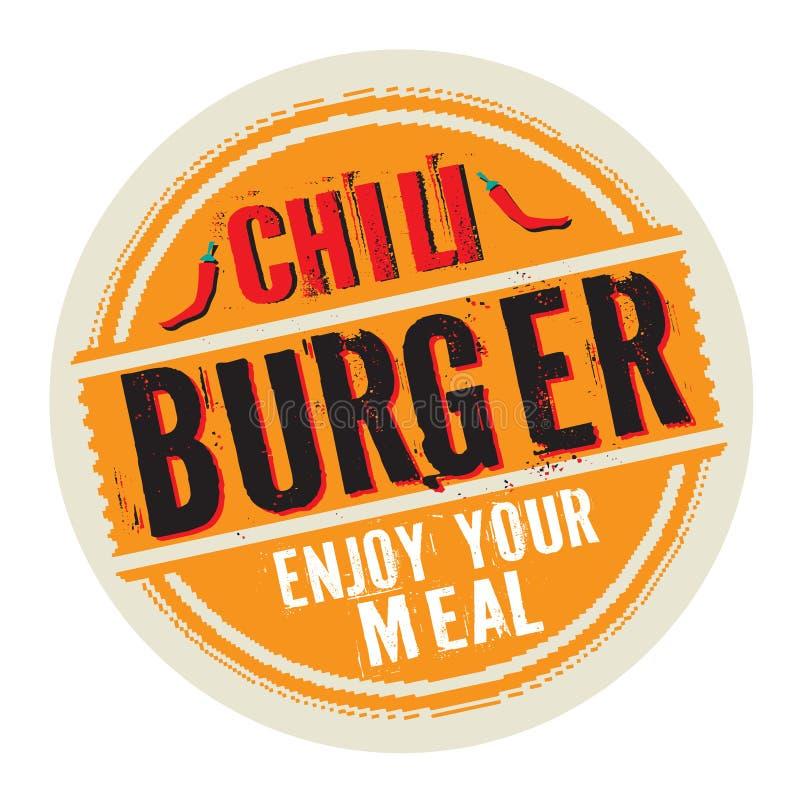 Печать или ярлык с бургером Chili текста бесплатная иллюстрация