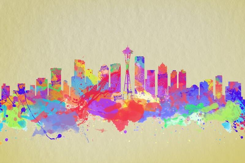 Печать искусства акварели горизонта Сиэтл стоковая фотография rf
